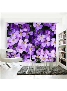 Purple Floral Pattern Polyester Room Darkening 3D Curtain