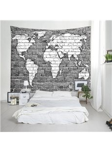 Black and White World Map Printed Decorative Hanging Wall Tapestry