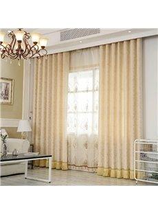 Beige Lace Modern Style Room Darkening Curtain