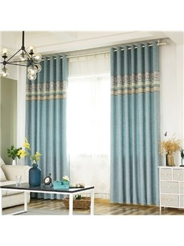 Blue Floral Pattern Room Darkening Polyester Curtain