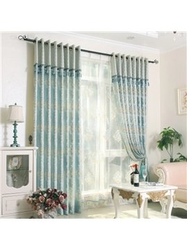 Blue Shading Cloth Golden Floral Pattern Polyester Curtain
