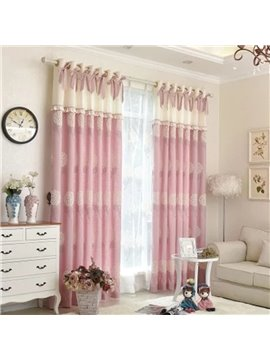 Princess Style Pink Bowknot Room Darkening Polyester Curtain