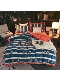 Blue Stripes and Letter Printing Velvet 4-Piece Bedding Sets/Duvet Cover