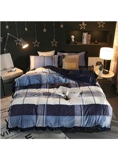 Stripes and Checks Navy Velvet 4-Piece Bedding Sets/Duvet Cover