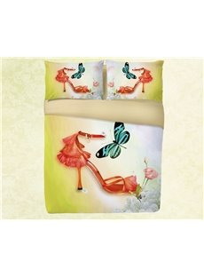 Onlwe 3D High Heels and Butterfly Simple Printing 4-Piece Bedding Sets/Duvet Covers