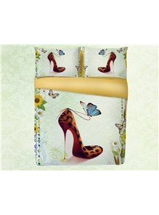3D Leopard Print High Heels and Butterfly Printing 4-Piece Bedding Sets/Duvet Covers