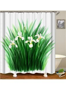 Green Grass White Flower Pattern Rural Style Shower Curtain