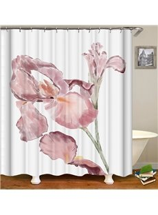 Pink Floral Pattern Ink Painting Style Anti-Bacterial Shower Curtain