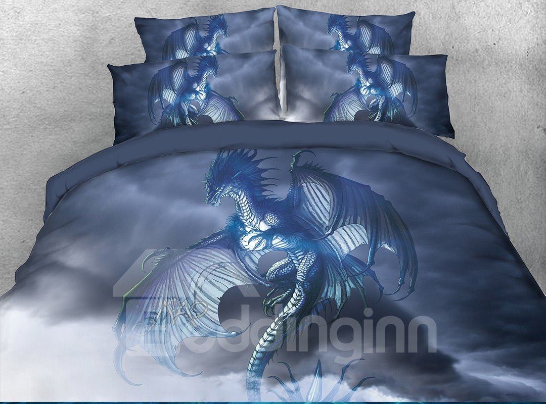 Dragon Opened Wings in Sky Digital Printing 4-Piece 3D Bedding Sets/Duvet Covers