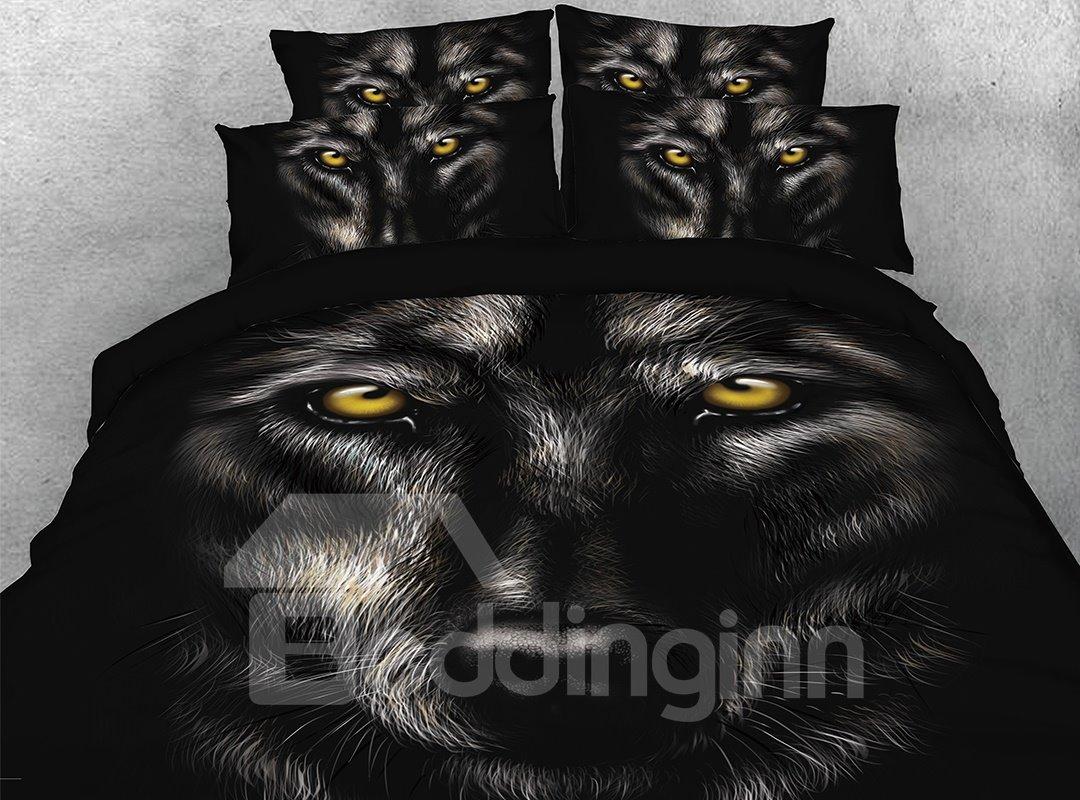Vivilinen 3D Wild Wolf Digital Printing 4-Piece Black Bedding Sets/Duvet Covers