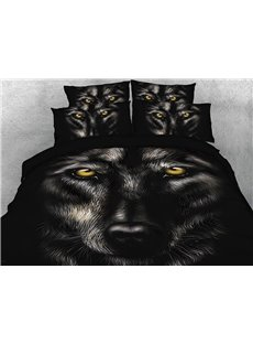 Onlwe 3D Wild Wolf Digital Printing 4-Piece Black Bedding Sets/Duvet Covers