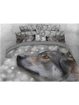 3D Wolf Head Digital Printing 4-Piece Grey Bedding Sets/Duvet Covers