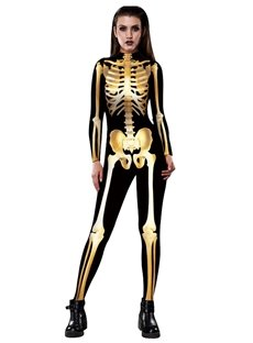 Skeleton Print 3D Style Stretch Halloween Cosplay Costume Jumpsuit
