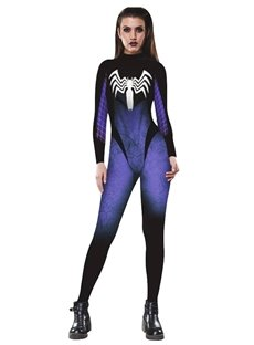 Spideman Print Stretch Halloween Skinny 3D Style Jumpsuit