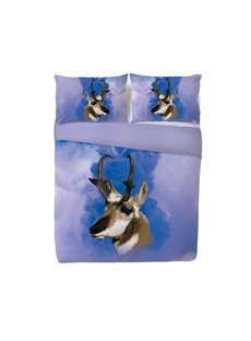 Onlwe 3D Wapiti Head Image Digital Printing 4-Piece Bedding Sets/Duvet Cover