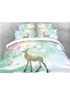 Onlwe 3D Wapiti and Dreamy Snow Digital Printing 4-Piece Bedding Sets/Duvet Cover