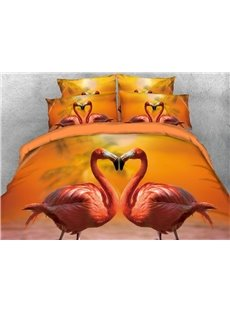 Onlwe 3D Flamingo Lovers Heart-shaped Digital Printing Cotton 4-Piece Bedding Sets/Duvet Covers