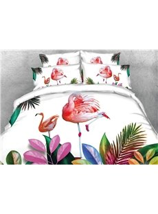 Onlwe 3D Pink Flamingos and Tropical Plants Digital Printing Cotton 4-Piece Bedding Sets/Duvet Covers