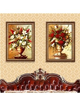 Waterproof and Eco-friendly 23*31in Flower Pattern Luxurious Style Hanging Framed Prints