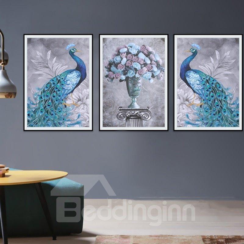 23.6.3x31.5in Tarpaulin Material 3-Pieces Waterproof Peacock Pattern Wall Prints