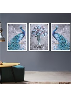 28.3x36.2in Tarpaulin Material 3-Pieces Waterproof Peacock Pattern Wall Prints