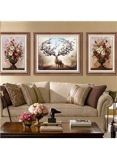 3-Pieces Living Room Decor Woodern Frame Retro Style Waterproof Elk Wall Print