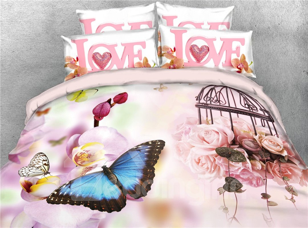 Onlwe 3D Butterflies and Blush Pink Peonies Digital Printed 4-Piece Bedding Sets/Duvet Covers