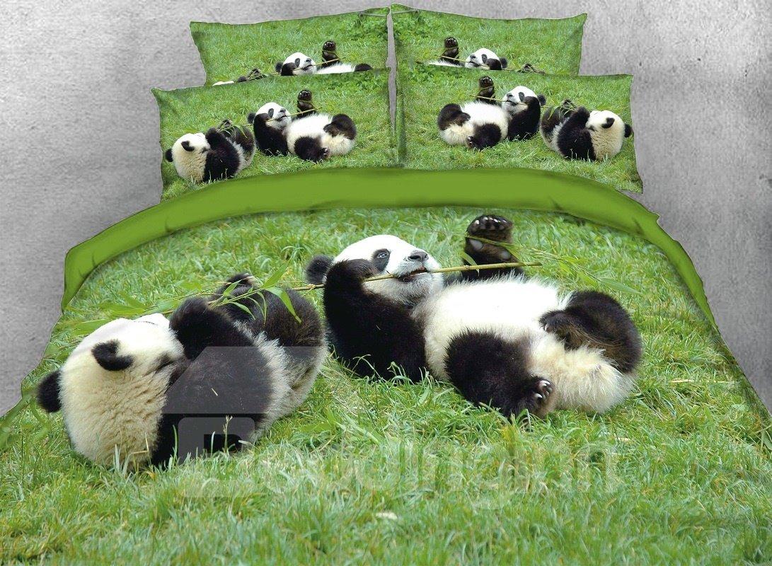 Vivilinen Pandas Eating Bamboo Digital Printed Cotton 3D 4-Piece Bedding Sets/Duvet Covers