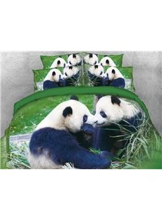 Onlwe 3D Panda Couple Digital Printed Cotton Green 4-Piece Bedding Sets/Duvet Covers