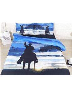 3D Cowboy Shadow Sunrise Digital Printed Cotton 4-Piece Bedding Sets/Duvet Covers