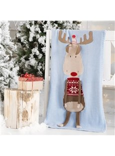 Christmas Deer 23.7*47.3in Knit Acrylic Soft Baby Blanket