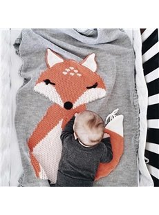23.7*47.3in Fox Pattern 3 Color Knit Acrylic Soft Baby Blanket