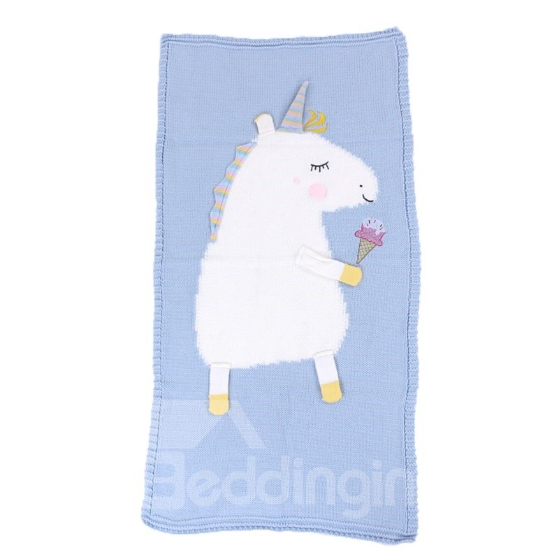 23.7*47.3in Cute Unicorn Pattern 4 Color Knit Acrylic Soft Baby Blanket