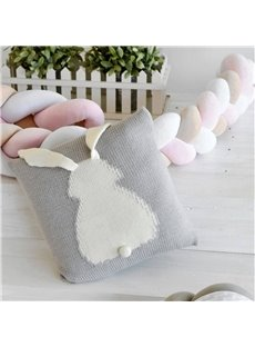 13.8*13.8in Simple Rabbit Knit Acrylic Fibers 5 Color Kids Soft Throw Pillow