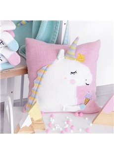 13.8*13.8in 4 Color Knit Acrylic Fibers Funny Kids Unicorn Soft Throw Pillow