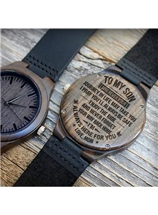Wood Dial with Warm Words Leather Band Design Personalized Watch