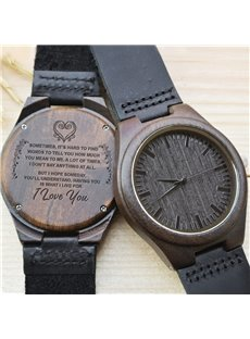 Unique Pattern&Warm Wishes Design Wood Dial Personalized Watch