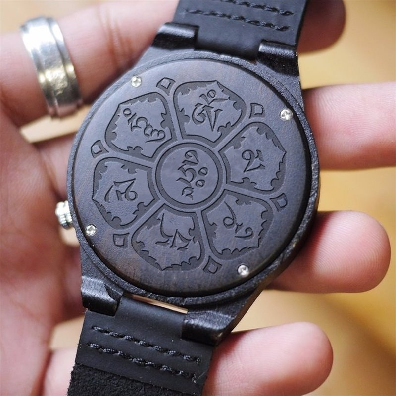 Special Graven Wishes Design Unique Wood Dial Personalized Watch