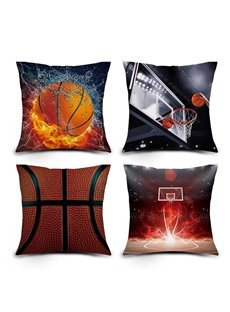 3D Basketball in Fire and Shooting Digital Printed Throw Pillow Case