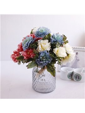 European Retro Style Peony Silk Artificial Flowers