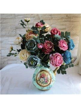Peony Lotus Retro Oil Painting Style Artificial Flower