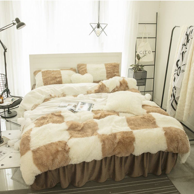 Brown and White Plaid Fluffy Bed Skirt 4-Piece Soft Bedding Sets/Duvet Cover