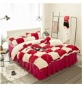Red-and-White Checked Bed Skirt 4-Piece Fluffy Bedding Sets/Duvet Cover