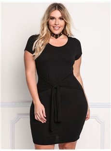 Round Neck Pure Color Polyester Knitting Technics Plus Size Dress
