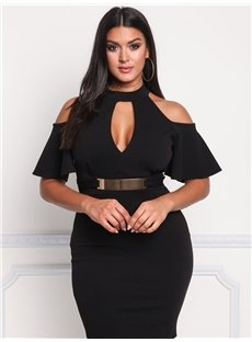 High-Waist Off-The-Shoulder Dissymmetry Plus Size Dress