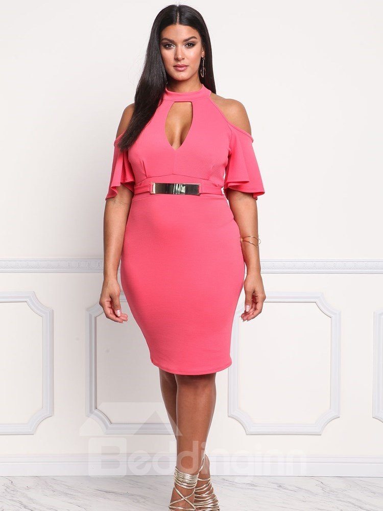High-Waist Off-The-Shoulder Dissymmetry Plus Size Dress