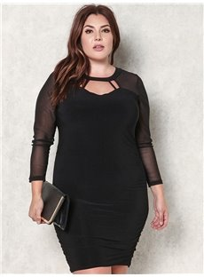 Knitting Technics Long Sleeve Polyester Pure Color Plus Size Dress