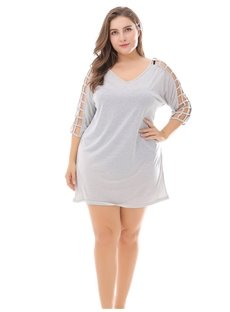 Overall Knitting Technics Loose Model V-Neck High-Waist Plus Size Dress