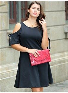 Off-The-Shoulder Raglan Sleeve Round Neck Plus Size Dress
