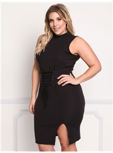 Lace Up Polyester Knitting Technics Plus Size Dress